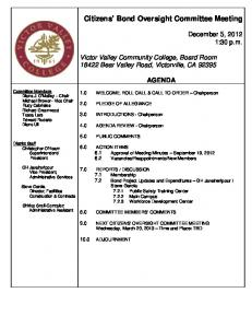 Citizens' Bond Oversight Committee Meeting - Victor Valley College