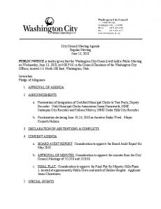City Council Meeting Agenda Regular Meeting June ...