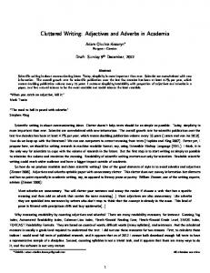 Cluttered Writing: Adjectives and Adverbs in Academia