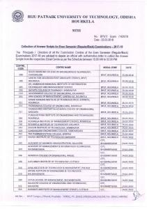 Collection of Answer Scripts for Even Semester (Regular & Back ...