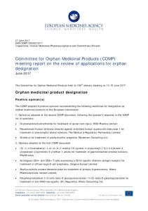 COMP meeting report on the review of applications for orphan ...
