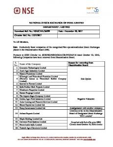 Company has been removed from Dissemination Board of National ...