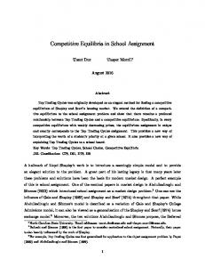 Competitive Equilibria in School Assignment