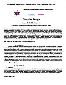 Compiler Design - International Journal of Research in Information ...