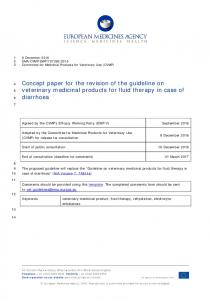 Concept paper for the revision of the guideline on veterinary medicinal ...