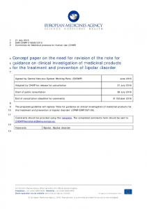 Concept paper on the need for revision of the Note for Guidance on ...