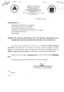 Conduct of English Proficiency Test for Teacher Applicants in the ...