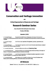 Conservation and Heritage Innovation Research ... -