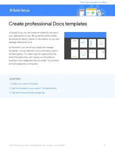 Create professional Docs templates - G Suite