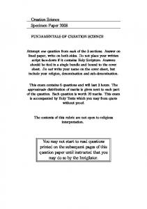 Creation Science Specimen Paper 2008 You may not ...