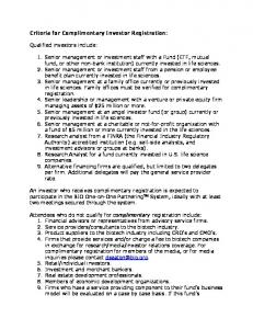 Criteria for Complimentary Investor Registration: Qualified investors ...