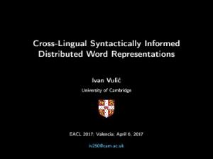 Cross-Lingual Syntactically Informed Distributed Word ...