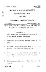 cs, MASTER OF ARTS (SOCIOLOGY) co Term-End Examination June ...
