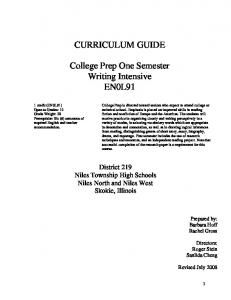 CURRICULUM GUIDE College Prep One Semester Writing Intensive ...