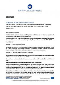 Decision of the Executive Director on the contribution to travel and ...