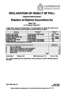 DECLARATION OF RESULT OF POLL Election of ... - Cotswold Lakes