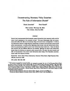 Deconstructing Monetary Policy Surprises - The Role of ...