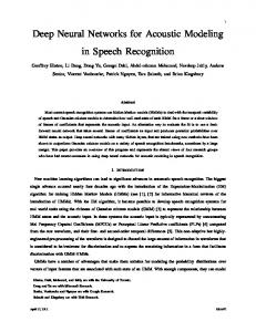 Deep Neural Networks for Acoustic Modeling in ... - Semantic Scholar