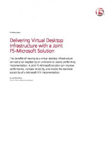 Delivering Virtual Desktop Infrastructure with a Joint F5-Microsoft ...