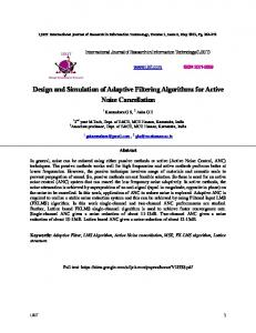 Design and Simulation of Adaptive Filtering Algorithms for Active ...