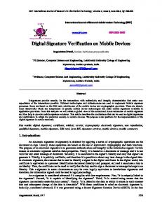 Digital Signature Verification on Mobile Devices - International Journal ...