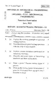DIPLOMA IN MECHANICAL ENGINEERING (DME) lc) DIPLOMA ...