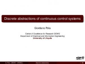 Discrete abstractions of continuous control systems