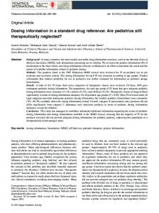 Dosing information in a standard drug reference - Wiley Online Library