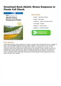 Download Book Abiotic Stress Response in Plants Full ...