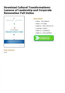 Download Cultural Transformations: Lessons of Leadership and ...