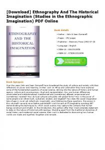 [Download] Ethnography And The Historical Imagination (Studies in ...