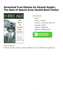 Download Free Ebooks An Honest Angler: The Best of Sparse Grey ...