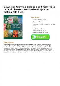 Download Growing Shrubs and Small Trees in Cold Climates ...