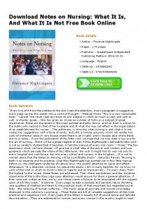 Download Notes on Nursing: What It Is, And What It Is ...
