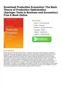 Download Production Economics: The Basic Theory of Production ...
