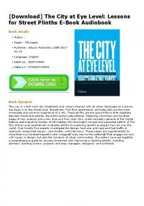 [Download] The City at Eye Level: Lessons for Street Plinths E-Book ...