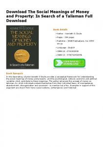 Download The Social Meanings of Money and Property: In Search of a ...