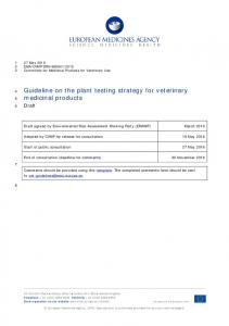 Draft guideline on the plant testing strategy for veterinary medicinal ...