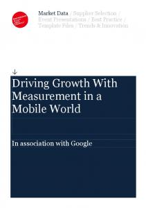 Driving Growth With Measurement in a Mobile ... - Services