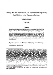 Driving the Gap: Tax Incentives and Incentives for ...