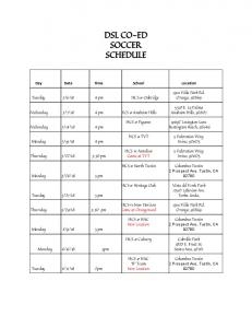 DSL CO-ED SOCCER SCHEDULE