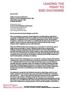 Duchenne Community Imperatives and Cover Letter - Draft ...