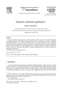 Dynamic coalitional equilibrium - Science Direct