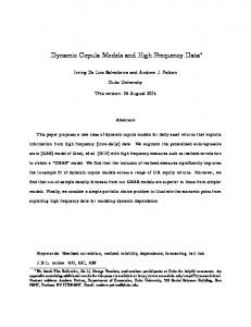 Dynamic Copula Models and High Frequency Data - Duke University