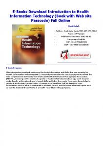 E-Books Download Introduction to Health Information ...