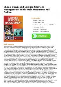 Ebook Download Leisure Services Management With Web Resources ...