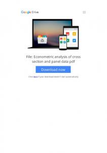 econometric analysis of cross section and panel data pdf  ...
