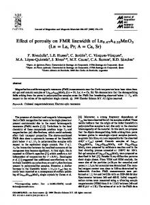 E!ect of porosity on FMR linewidth of Ln A MnO (Ln
