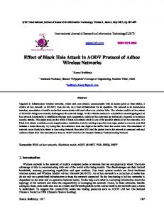 Effect of Black Hole Attack in AODV Protocol of Adhoc Wireless Networks