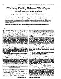 Effectively finding relevant web pages from linkage ... - Semantic Scholar